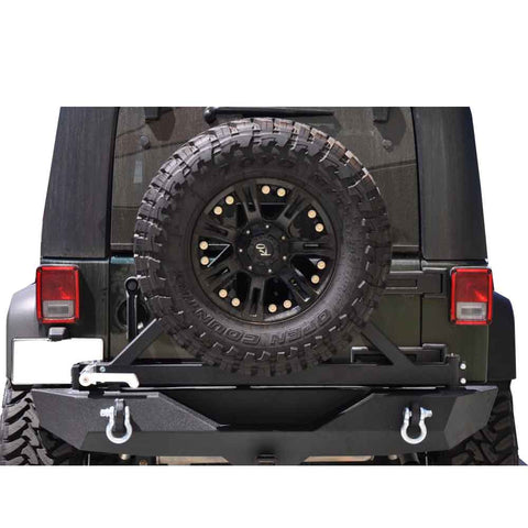 Dv8 Off-Road Full Width Rear Bumper With Tire Carrier, Tapered Bearing, Steel, Textured Black, Exterior Car Parts | 2007-2017 Wrangler JK and