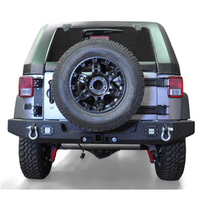 Dv8 Off-Road Full Width Rear Bumper With Lights, Steel, Textured Black, Exterior Car Parts | 2007-2017 Wrangler JK and Wrangler Unlimited JK,