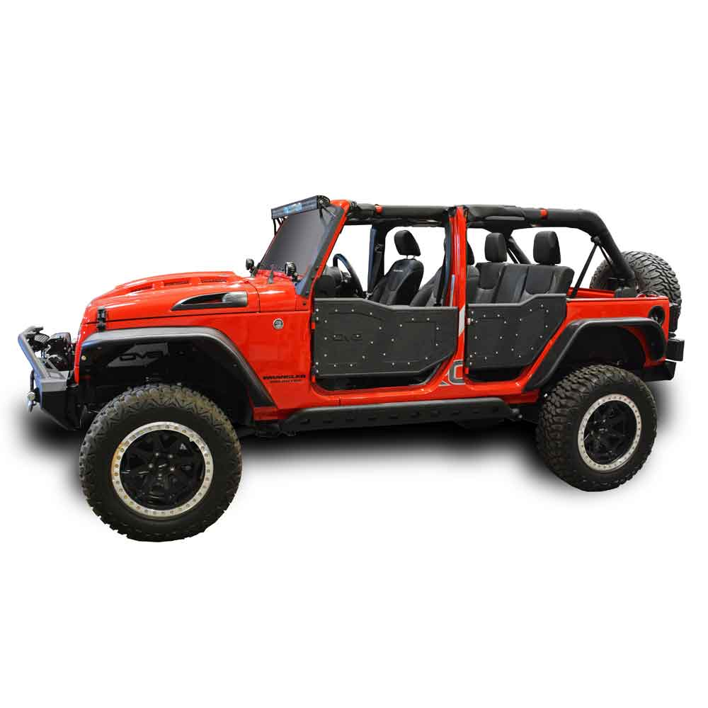 Jeep Dv8 Off-Road Dv8 Plated Rock Doors-4 Door, Steel, Textured Black-Set Of 4, Exterior Car Parts | 2007-2017 Wrangler Unlimited JK, DV8-RDSTTB-01