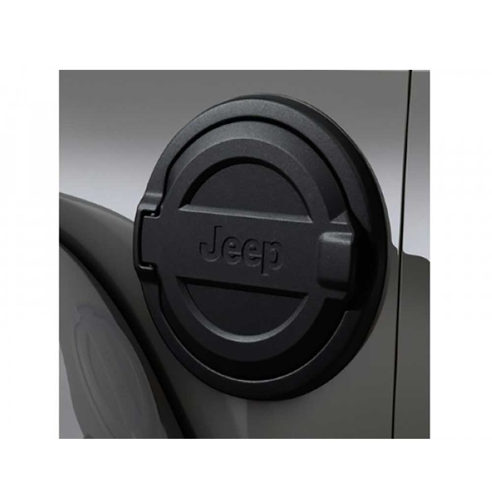 Jeep Mopar Fuel Door With Logo, Black, Exterior Car Parts | 2018 Wrangler JL and Wrangler Unlimited JL, 82215123-M