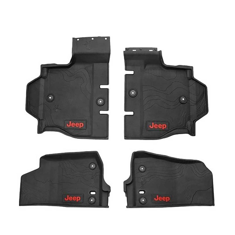 Jeep Mopar All-Weather Floor Mats, Terrain-Style Design With A Red Logo, 4 Door, Black, Interior Car Parts | 2018 Wrangler JL Unlimited,