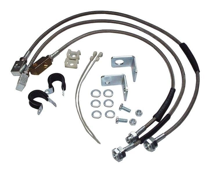 "Jeep Rt Off-Road Extended Brake Hose Kit For 0-6"" Lift, Stainless Steel, Suspension Parts 