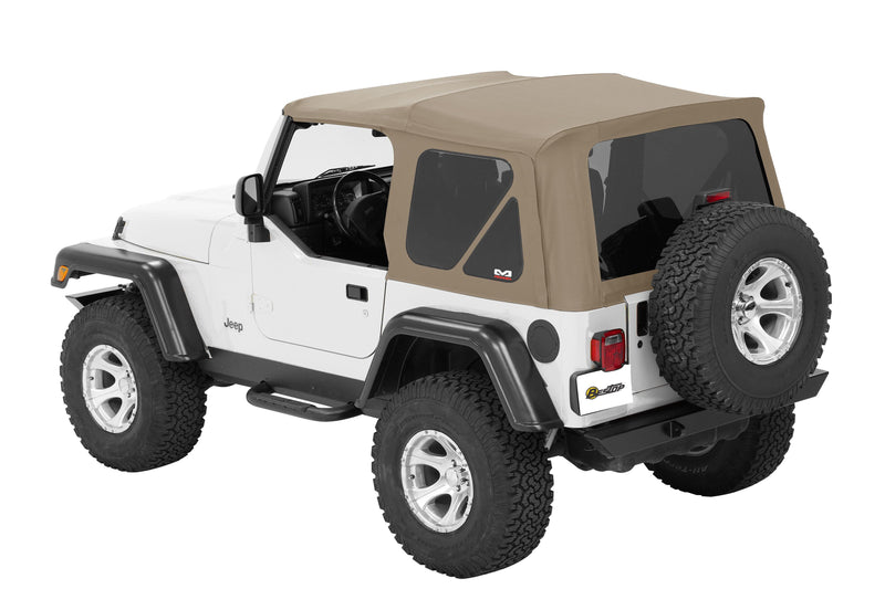 Jeep Bestop Twill Supertop Nx Soft Top With Tinted Rear And Side Windows, No Doors, Complete Soft Top, Pebble Twill | 2007-2017 Wrangler JK