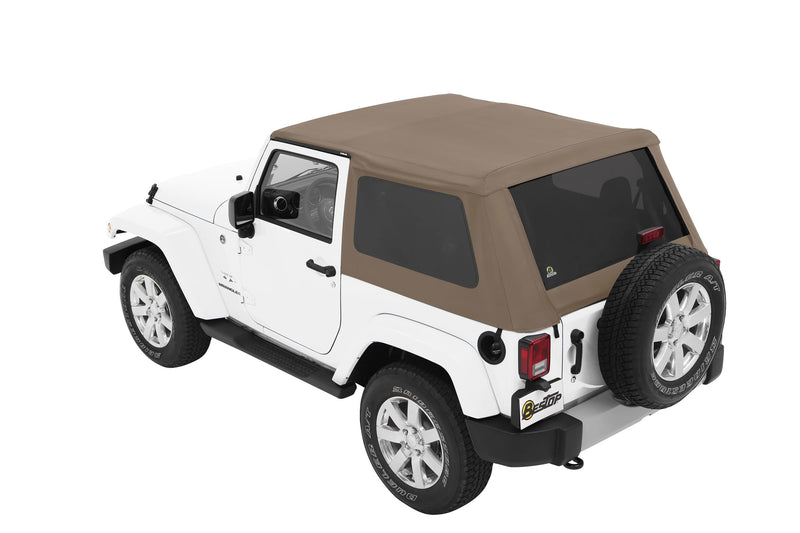 Jeep Bestop Trektop Nx Soft Top With Tinted Side & Rear Windows, Pebble Twill | 2007-2017 Wrangler JK (2-Door), 56852-74