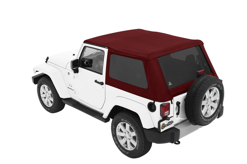 Jeep Bestop Trektop Nx Soft Top With Tinted Side & Rear Windows, Red Twill | 2007-2017 Wrangler JK (2-Door), 56852-68