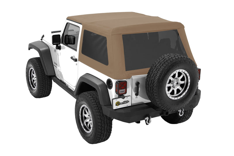 Bestop Trektop Nx Glide Soft Top With Tinted Side & Rear Windows, Tan Twill | 2007-2017 Wrangler JK (2 Door), 54922-71