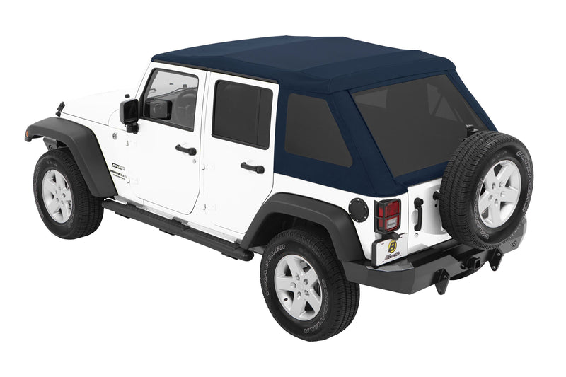 Jeep Bestop Trektop Nx Glide Soft Top With Tinted Side & Rear Windows, Blue Twill | 2007-2017 Wrangler Unlimited JK (4-Door), 54923-69