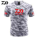 Summer Daiwa Clothing for Fishing Camouflage Outdoor Fishing Tshirt Breathable Letter Short Sleeve Top Sport Quality Fishing Tee