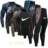 Fashion clothing warm men's underwear set men's compression fleece sweat quick-drying thermal underwear men's long-sleeved spot
