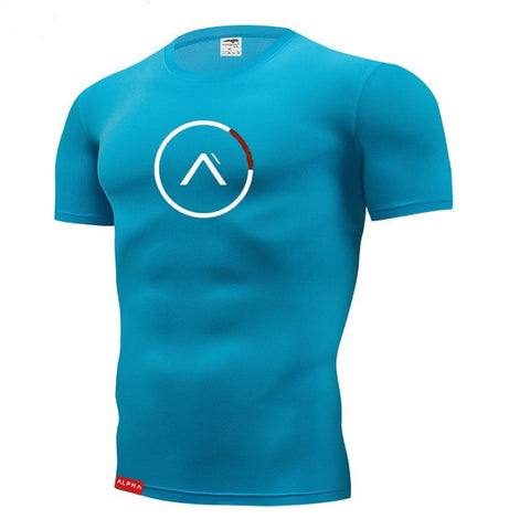 Men's fitness gym t shirts mens jogging sport shirt men running shirts gym t shirt men compression tops muscle training shirt