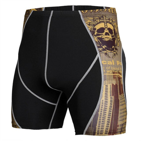 Quick Dry Elastic Compression Short Running Tights Men 3D Wolf Printed Crossfit Workout Clothing Base Layer Gym Fitness Shorts