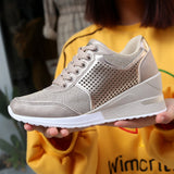 2019 Women Increase Shoes Big Size 35-42 Walking Sneakers Black Gold Sport Shoes Ladies Girls Jogging Running Sneakers