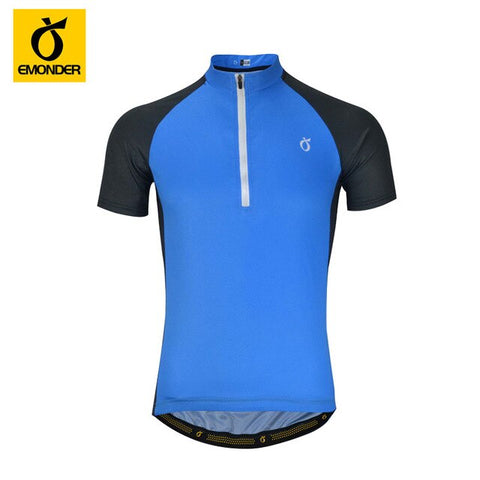 Quick Dry Summer Men's Half zip cycling Jersey 3 Quarter Zipper Mesh Line Fabric light cycling tops Ropa Ciclismo EMONDER