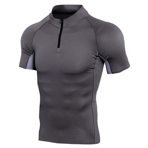 Stand Collar Quick Dry Compression Running Shirt Men Half Zip Stretch Crossfit Trainning Gym Fitness T-Shirt Sportswear Clothing