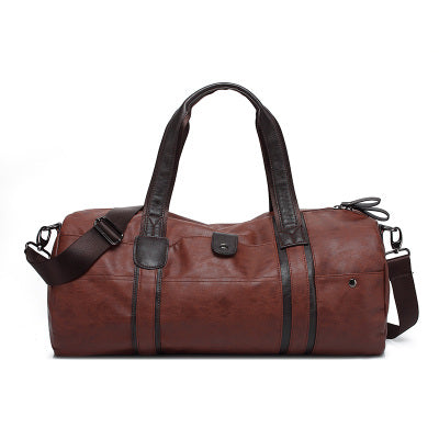 Cylindrical Soft Leather Gym Bag