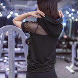 women sports T-Shirts Loose gauze sports hooded blouse Female hollow short sleeve running fast-drying top