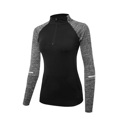 High Neck Half Zip Sports Pullover - Women's Hiking Running Outdoor Yoga Winter Leisure Zipper Long Sleeve Shirt Top Sweater