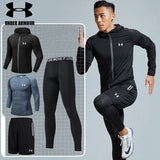 Under Armour Men Gym clothing hiking training workout clothes 2-5 pieces quick dry compression exercise jackets high quality