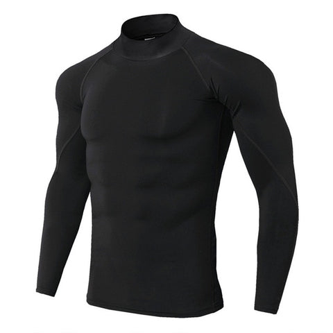 Mens Quick Dry Compression Training T-shirt Long Sleeve