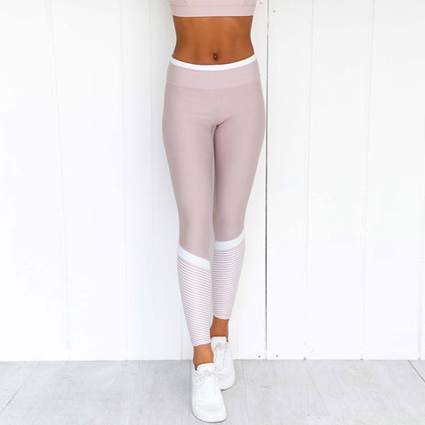 Pink Yoga Leggings For Fitness High Waist Sports Wear For Women Gym Leggings Patchwork Sport Running Tights Women Training Pants