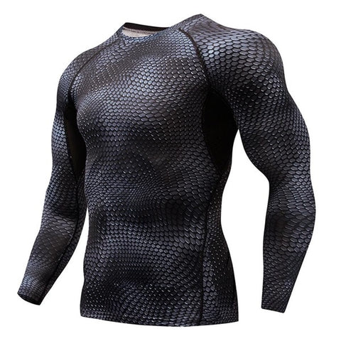 Compression Elasticity Sport Shirt Men Quick Dry Men's Running T-shirts Snake Gym Clothing Fitness Tops Rashgard Soccer Jersey