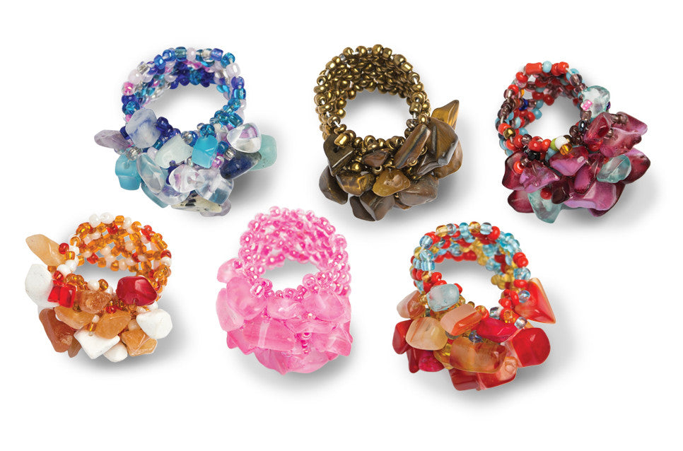 Set of 12 Assorted Kharmic Beaded Stretchy Stone Rings