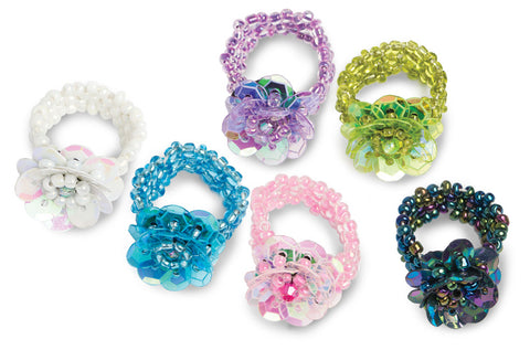 Assorted Kharmic Beaded Stretchy Flower Rings- Set of 12