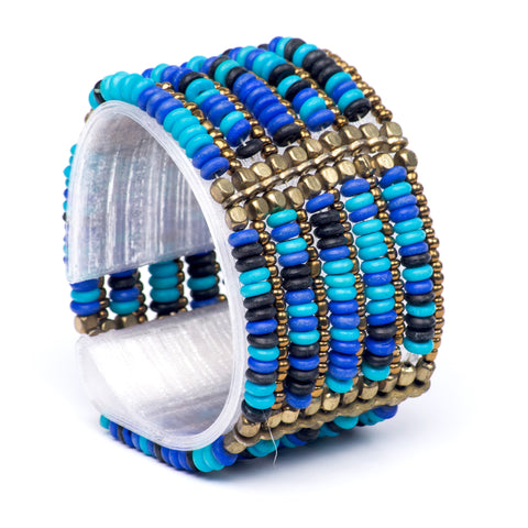 Turquoise Mix Brass Strand Beaded Stretchy Bracelet
