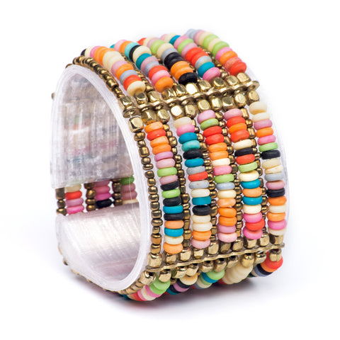 Rainbow Mix Brass Strand Beaded Stretchy Bracelet- OVERSTOCK