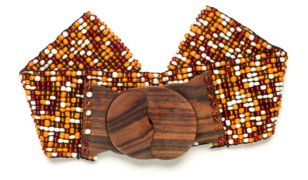 Orange Mix Beaded Stretchy Belt