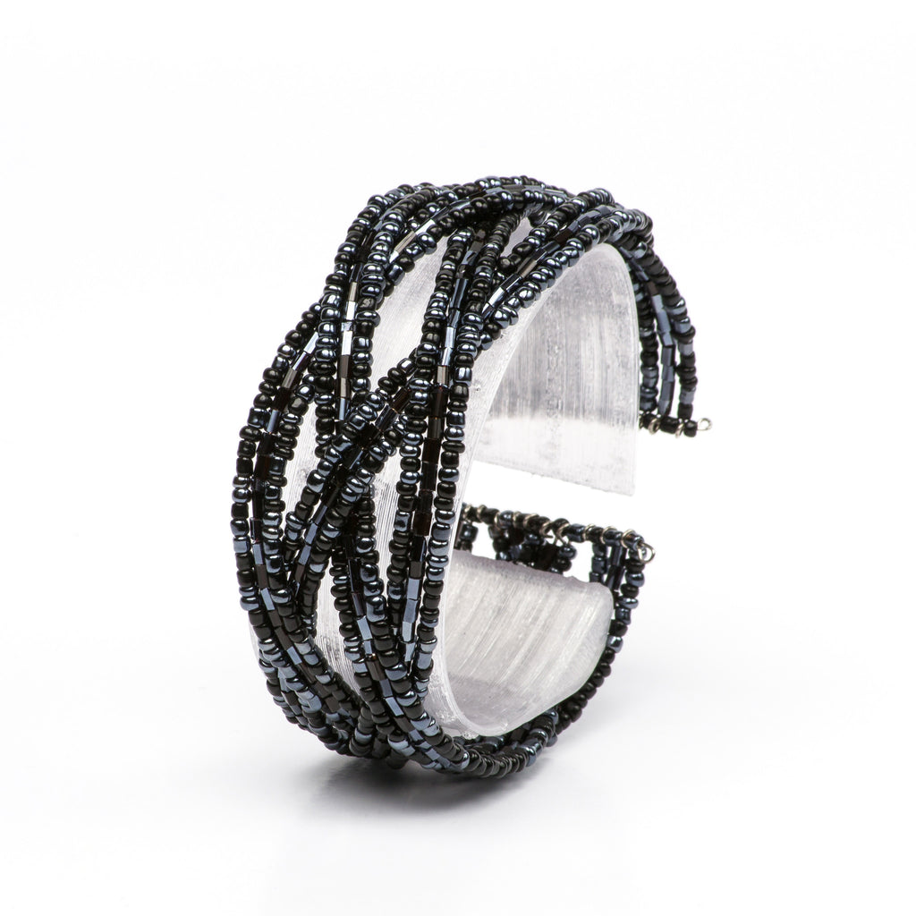 Black & Hematite Small Beaded Cuff Bracelet