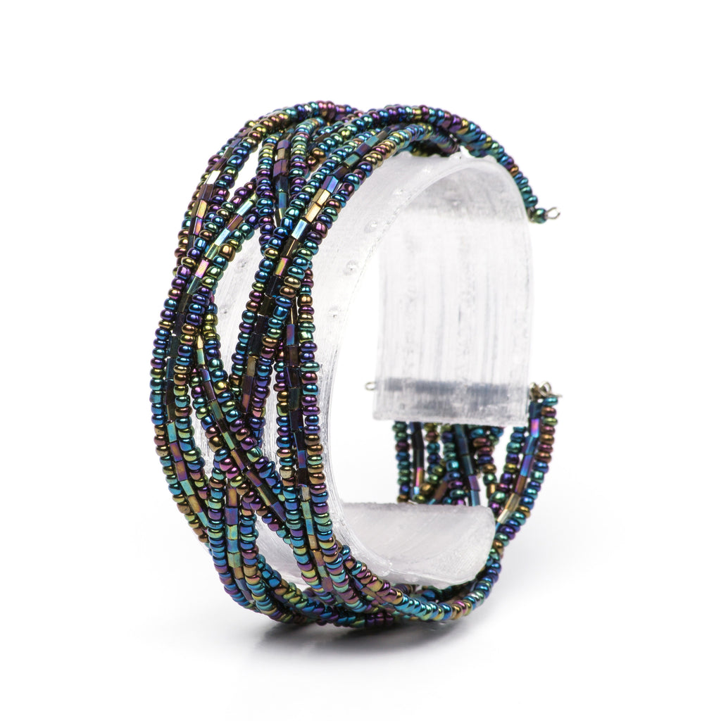 Peacock Iridescent Small Beaded Cuff Bracelet