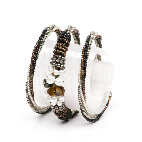 Pewter & Black Wrap Bracelet
