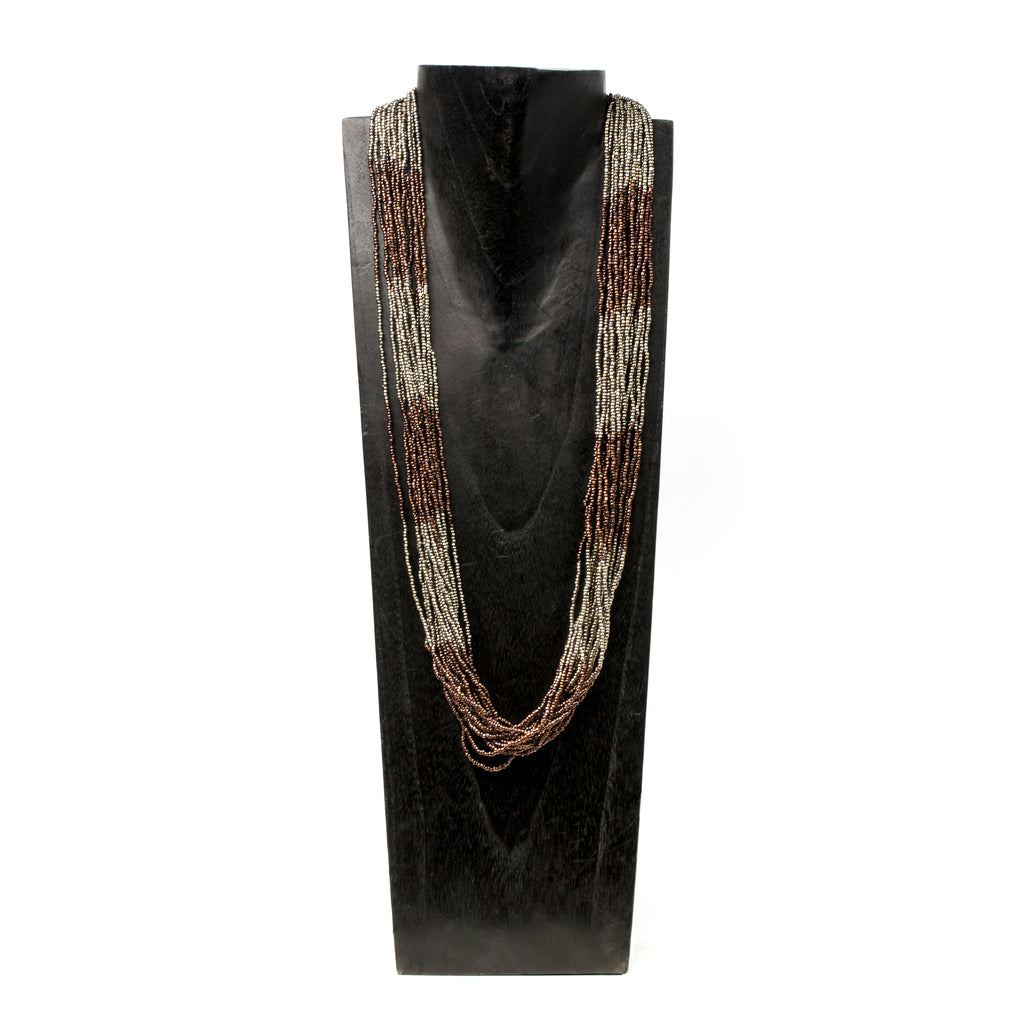 Multi-Strand Pewter Chocolate Necklace
