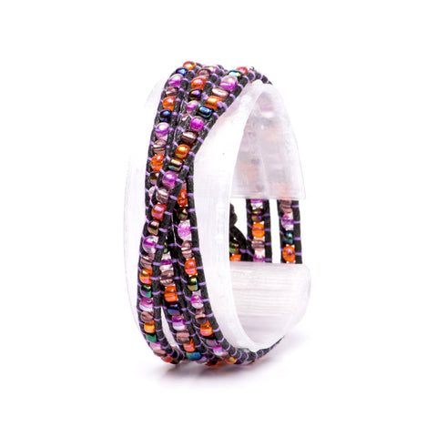 Purple Daisy Multi-Wrap Bracelet