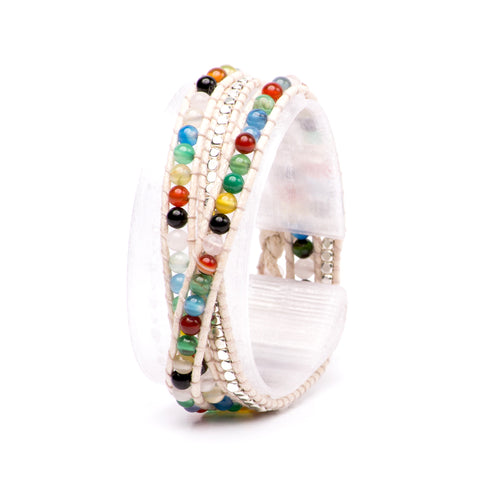 Rainbow Gemstone Multi-Wrap Bracelet