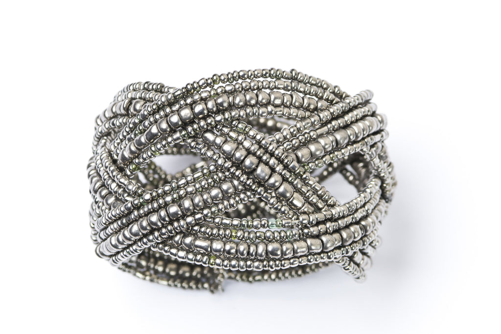 Pewter Large Beaded Cuff Bracelet