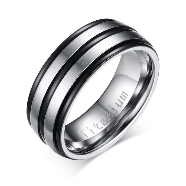 8mm Black Men Ring 100% Titanium Carbide Jewelry