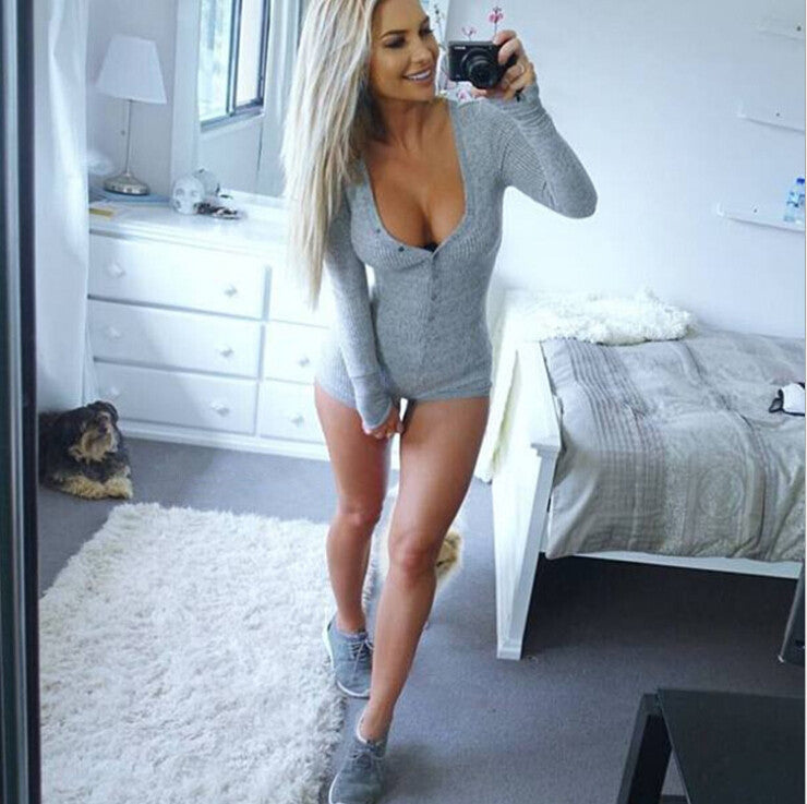 Sexy Lady V Neck Long Sleeve Jumpsuit Bodysuit