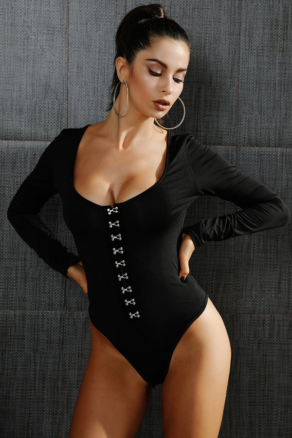 Sexy long sleeve low cut bodysuit