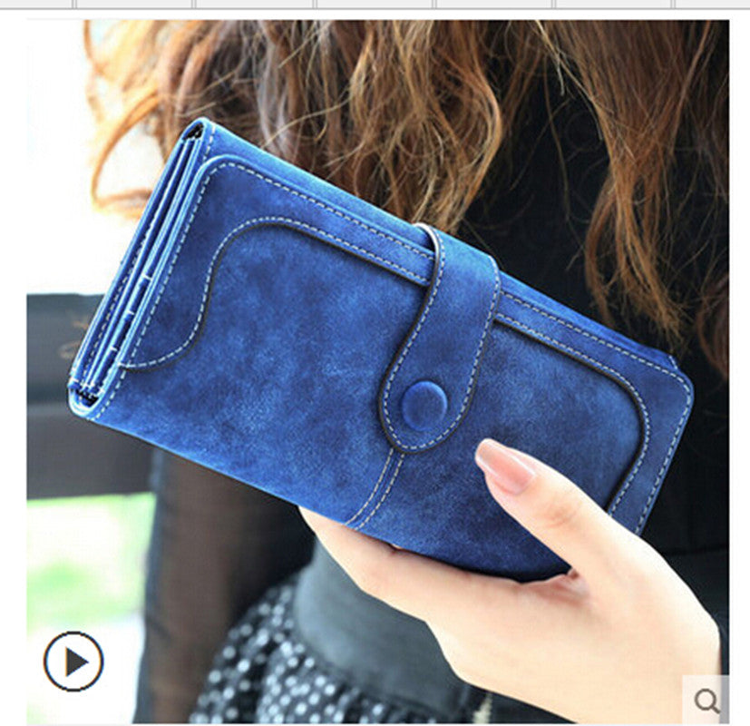 Fashion Retro Matte Stitching Leather Wallet