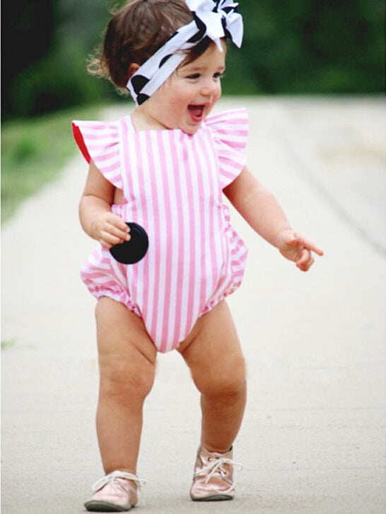 Newborn Infant Baby Girl Clothes Stripe Cotton Bodysuit