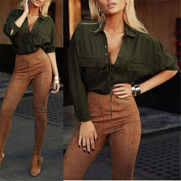 Deep V Turn Down Collar Front Long Sleeve Blouse