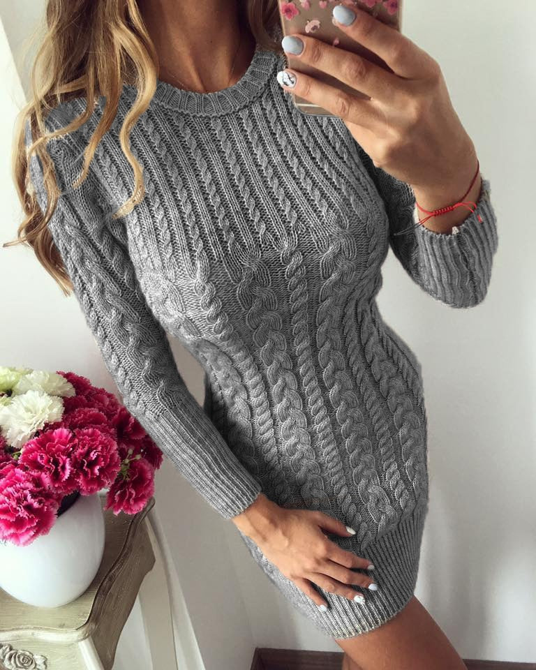 Autumn Winter Warm Sweater Sexy Slim Bodycon Dress