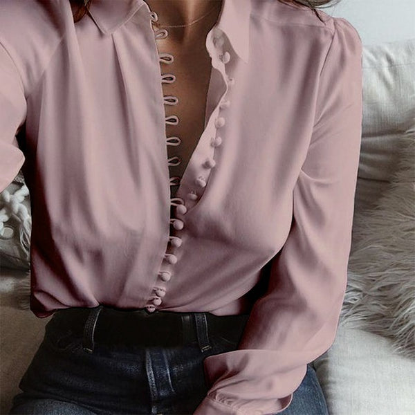 Casual Solid Lapel Long Sleeve Blouse Shirts