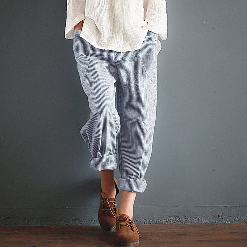 Retro  Casual Waist Pockets Long Pants