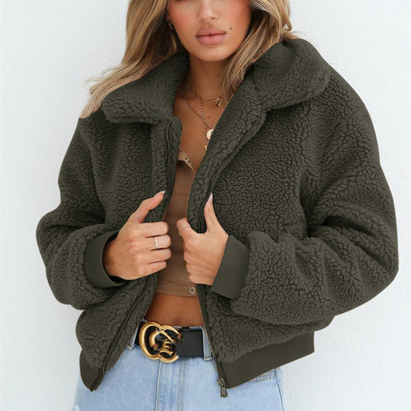 Fashion Zipper  Warm Woolen Jacket Outwear