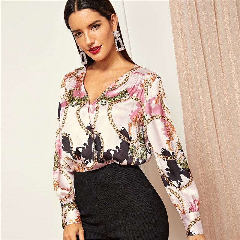Pink V neck Wrap Front Chain Print Bodysuit Shirt and Blouse