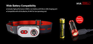 H1A ALUMINIUM HEADLAMP 550 LUMS RECHARGEABLE