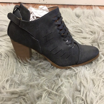 Strappy charcoal boots